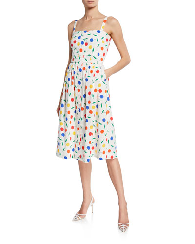 Laura Rainbow Cherry Cotton Dress