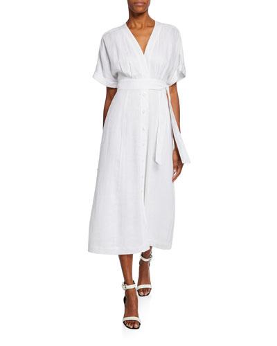 Nauman Button-Front Short-Sleeve Linen Dress