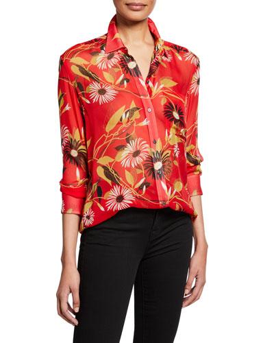 Daddy Floral-Print Button-Down Silk Blouse