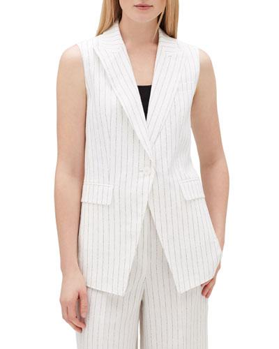 Vanya Arcadian Pinstripe One-Button Vest