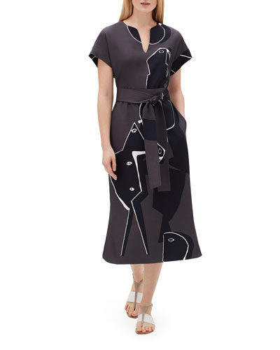 Cosimia Portrait-Print Short-Sleeve Belted Drape Cloth Dress