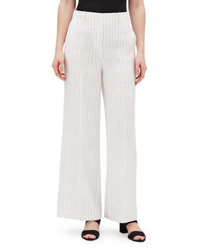 Kensington Arcadian Pinstripe Wide-Leg Linen Pants