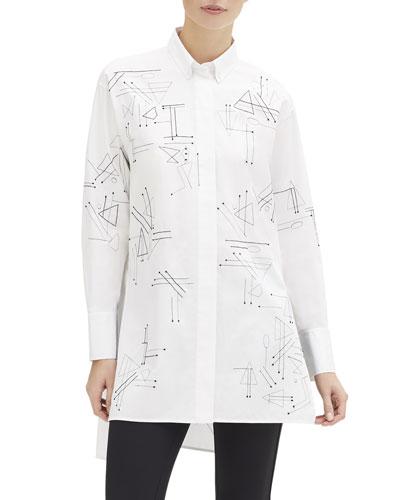 Kehlani Geometric Button-Down Utility Cotton Blouse