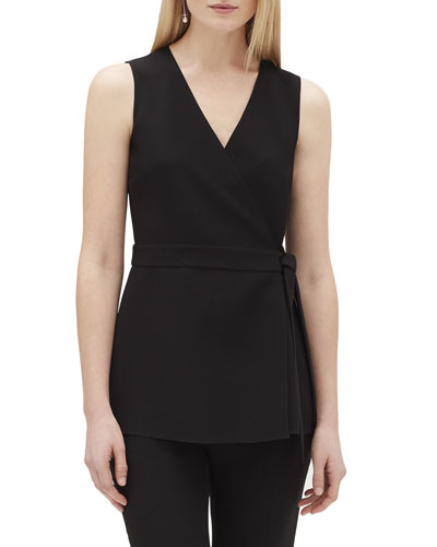 Pammie Sleeveless Finesse Crepe Wrap Blouse