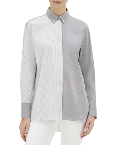 Kehlani Metropolitan-Striped Long-Sleeve Cotton Blouse
