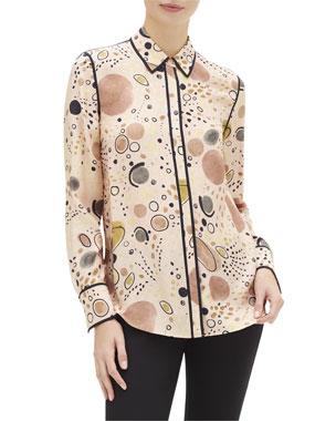 f9bb15cf17a4 Lafayette 148 New York Scottie Surrealist Circles Print Button-Down Silk  Blouse