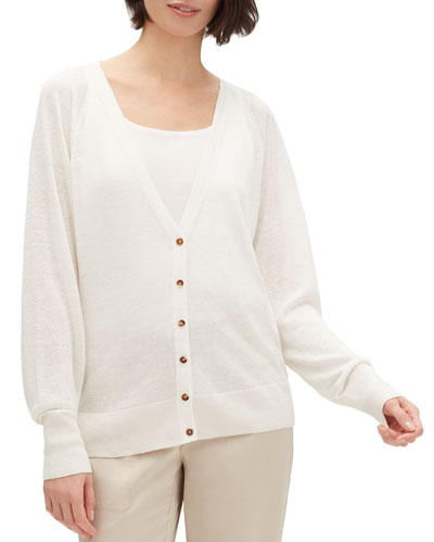 Button-Front Raglan-Sleeve Relaxed Cardigan