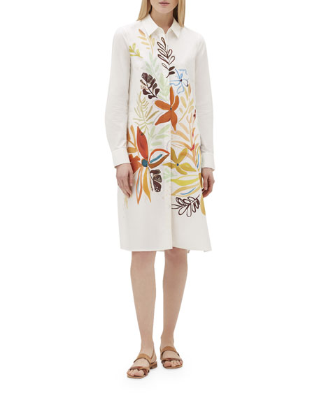 Lafayette 148 Dresses PORTO FIORE-PRINT BUTTON-FRONT COTTON SHIRTDRESS
