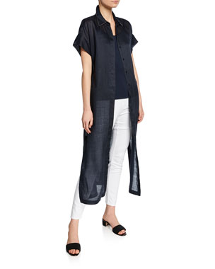 e3abfe6ac0f Lafayette 148 New York Gemma Button-Front Short-Sleeve Cloth Topper