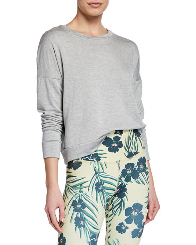 Color-Streak Long-Sleeve Cropped Pullover