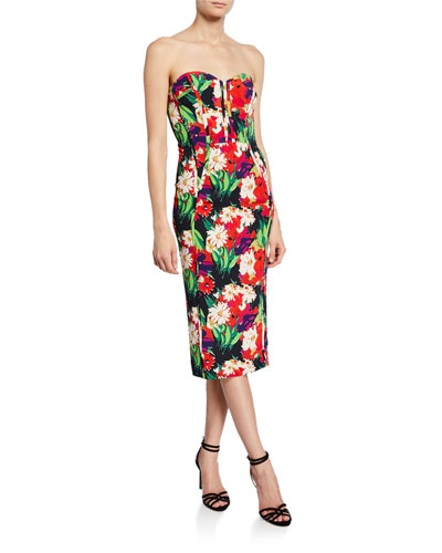 Saffron Floral-Print Strapless Cocktail Dress