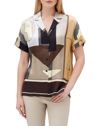 Beatrice Cubist-Print Button-Front Sheen Cloth Blouse