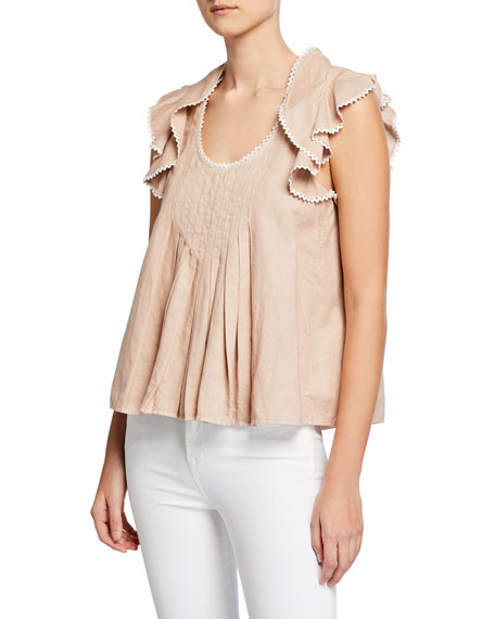 The Great THE RIC RAK PLEATED RUFFLE KERCHIEF BLOUSE