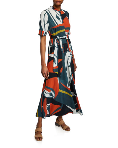 Augustina Artisan Abstract-Printed Short-Sleeve Crepe Dress