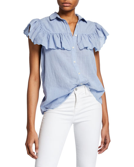 The Great THE SCALLOP CAMPFIRE RUFFLE BUTTON-FRONT TOP