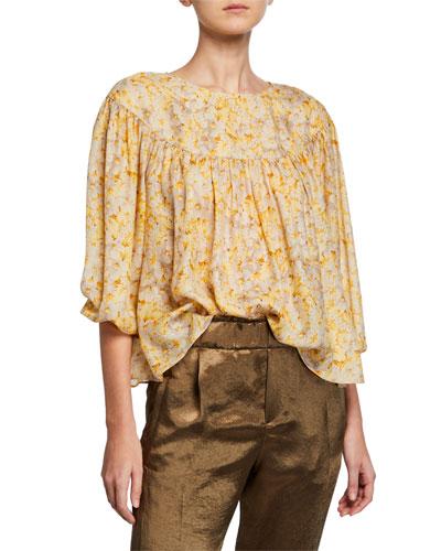 The Duskfall Floral Blouson-Sleeve Silk Blouse