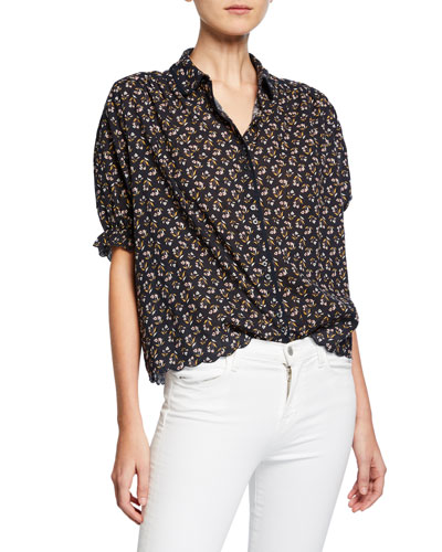 The Whistle Floral Scalloped Button-Front Top