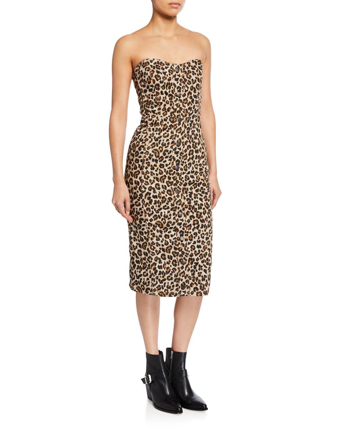 Veronica Beard Liza Leopard-Print Strapless Dress  21bc1965a