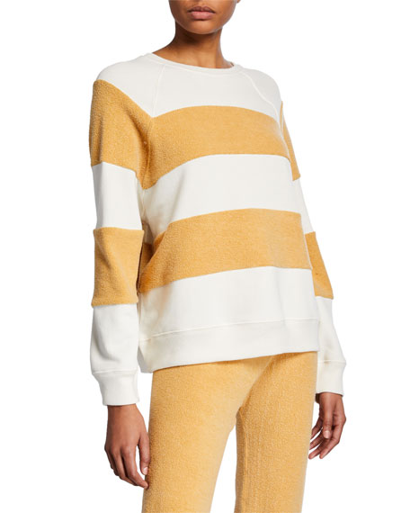 The Great The Sherpa Stripe Slouchy Pullover Sweatshirt