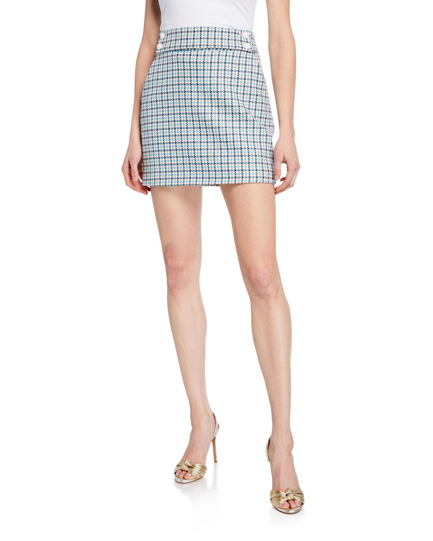 Veronica Beard Arezzo Houndstooth Check Mini Skirt
