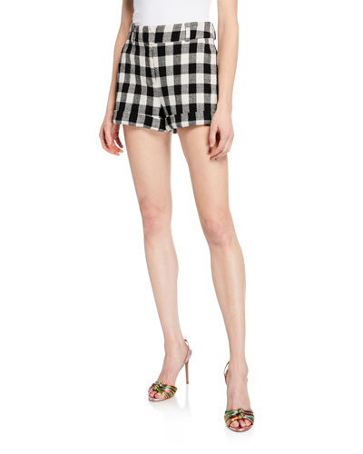 Carito Gingham Rolled-Cuff Shorts