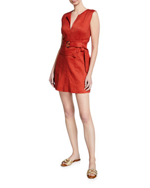 fcbf0bba49 Veronica Beard Sadira Linen-Blend V-Neck Short Dress