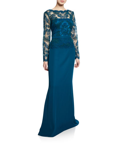 Bateau-Neck Long-Sleeve Crepe Gown with Corded Lace