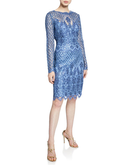 Tadashi Shoji Dresses Sequin Lace Long-Sleeve Cocktail Dress