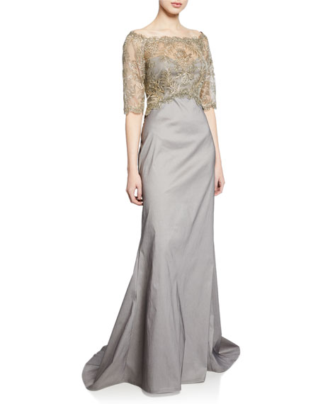 Tadashi Shoji Knits OFF-THE-SHOULDER ELBOW-SLEEVE TAFFETA GOWN WITH CORDED LACE OVERLAY