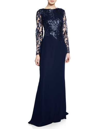 Long-Sleeve Crepe Gown with Sequined Bodice & Sleeves