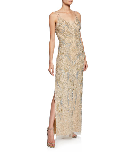 Beaded V-Neck Sleeveless Column Dress