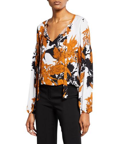 Alysse V-Neck Blouson-Sleeve Silk Blouse