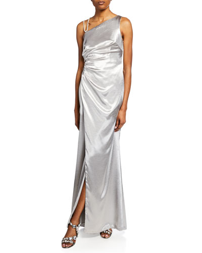 One-Shoulder Asymmetric Satin Gown with Slit