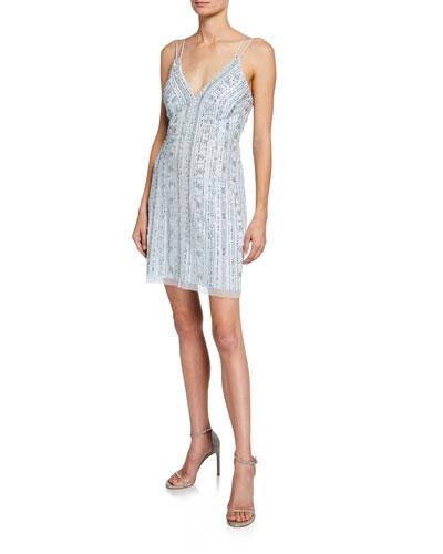 Beaded V-Neck Sleeveless Mini Sheath Dress