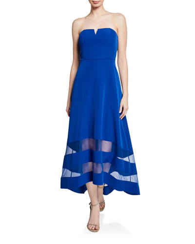 Strapless High-Low Crepe Dress with Sheer Insets