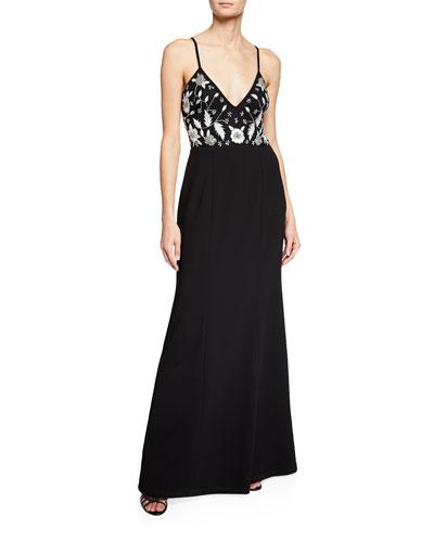 Handed-Beaded V-Neck Sleeveless Long Crepe Dress