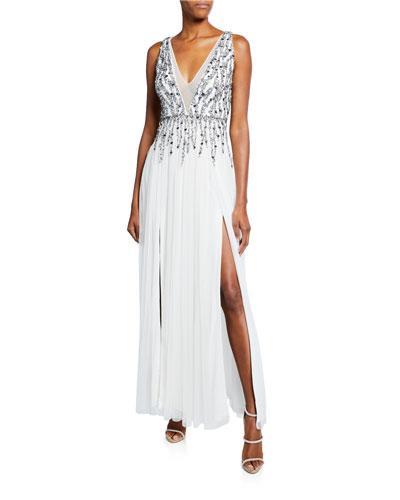 Beaded Mesh Plunge V-Neck Sleeveless Gown