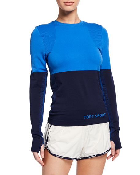 Tory Sport Tops TWO-TONE SEAMLESS LONG-SLEEVE ACTIVE TOP