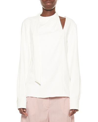 Draped Tie-Neck Long-Sleeve Top w/ Shoulder Cutout