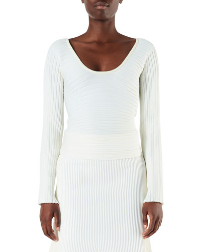 Tech Ribbed Decollete Wrap Pullover Sweater