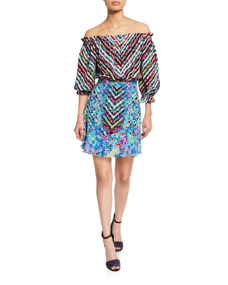 Saloni Dresses GRACE OFF-THE-SHOULDER FLORAL-PRINT SILK MINI DRESS