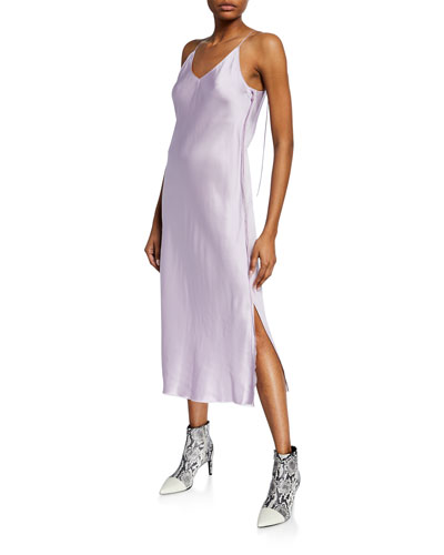 Slip Dress with Raw Edges