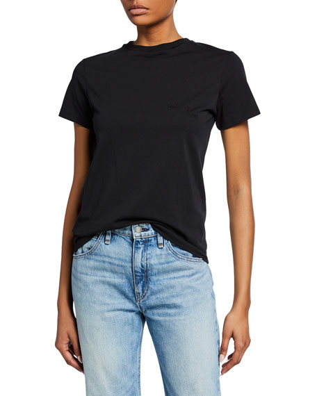 Helmut Lang Tops STACKED EMBROIDERED LOGO TEE