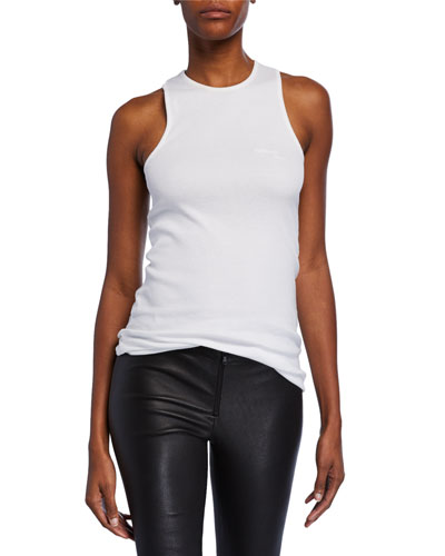 Stacked High-Neck Cotton Tank