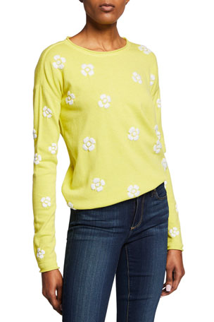 Lisa Todd Daisy Crazy Embroidered Long-Sleeve Cotton Sweater