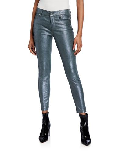 Prince Metallic Lambskin Leather Skinny Crop Jeans