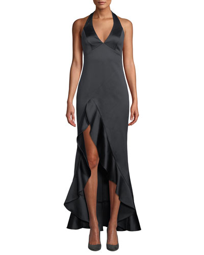 Halston Heritage Halter V Neck High Low Gown With Flounce Skirt