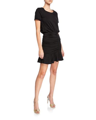 Short-Sleeve Ruched Pima Cotton Mini Dress w/ Flounce Hem