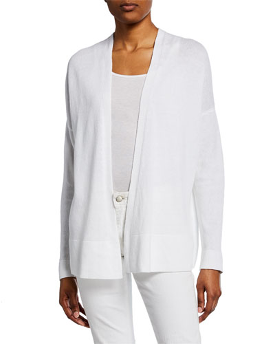 Organic Linen/Cotton Open-Front Long-Sleeve Cardigan
