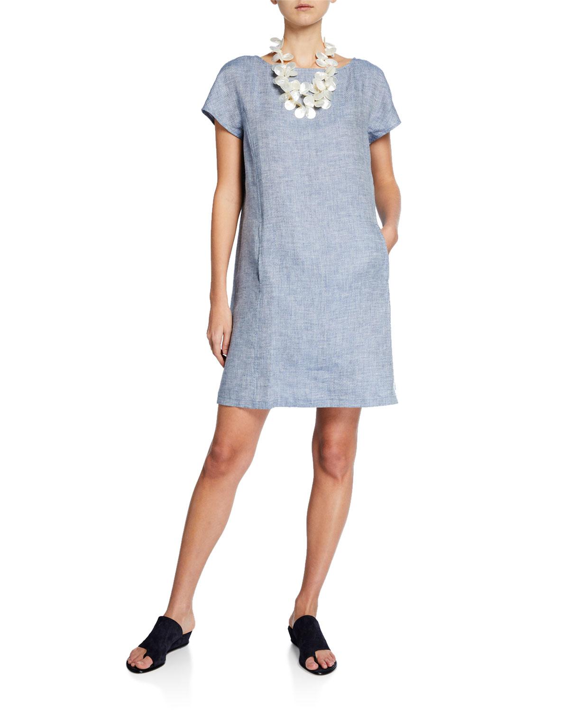 bf8b5b681bf Eileen Fisher Petite Chevron Cap-Sleeve Organic Linen Shift Dress ...